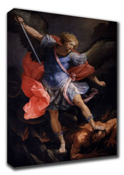Reni, Guido: The Archangel Michael Defeating Satan. Biblical/Religious Fine Art Canvas. Sizes: A3/A2/A1 (0019)